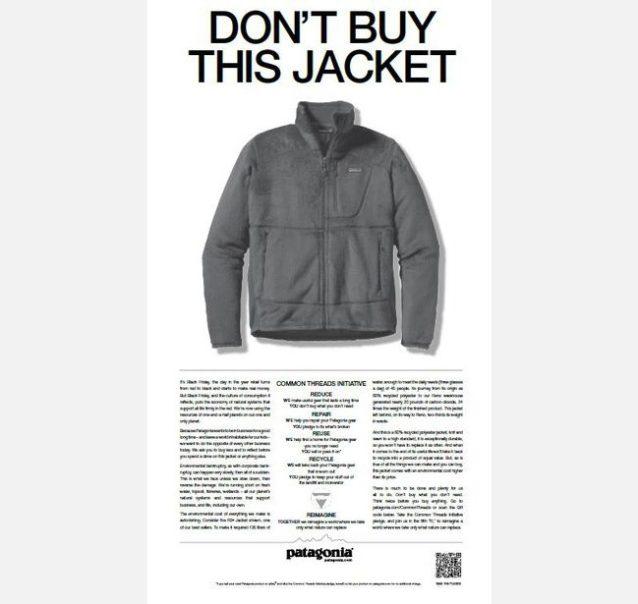 写真:2011年11月25日にニューヨーク・タイムス紙に掲載されたパタゴニアの広告