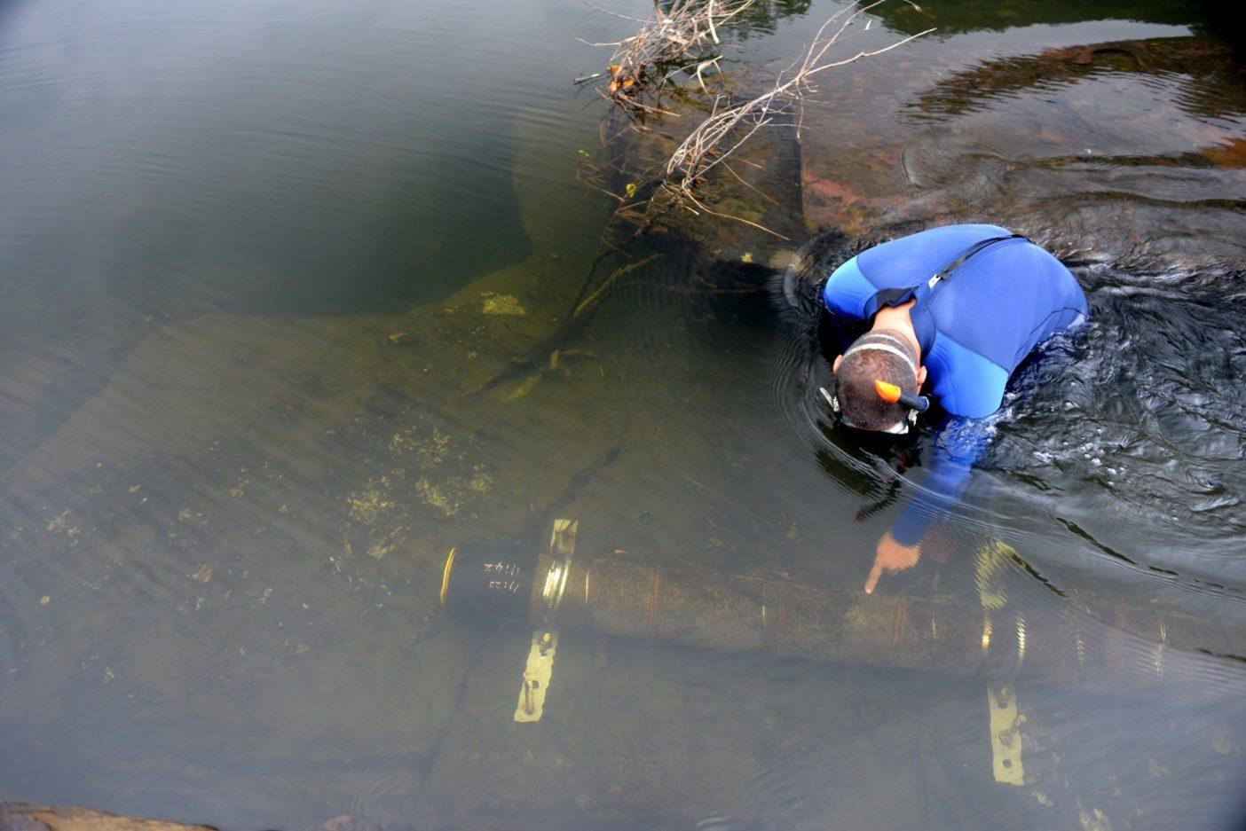 マリウドの滝壺下流が取水パイプの起点となっている。写真:中根淳一