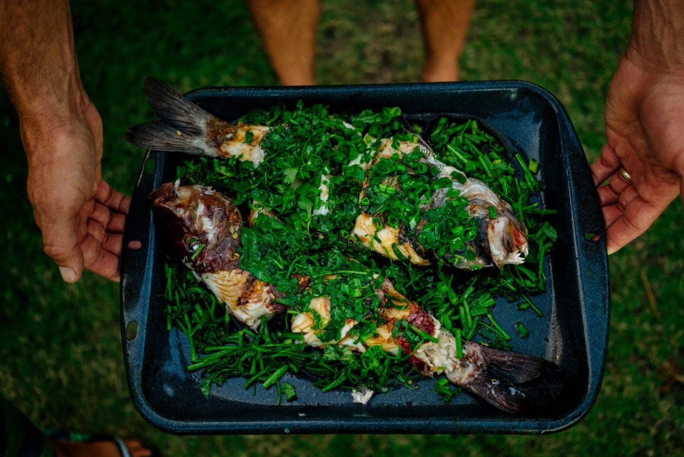 キミと過ごすとき、このような自分で捕まえた手製の料理を経験しないことはない。写真がこの食卓の香りを捉えることができたらいいのに。Photo: Donnie Hedden