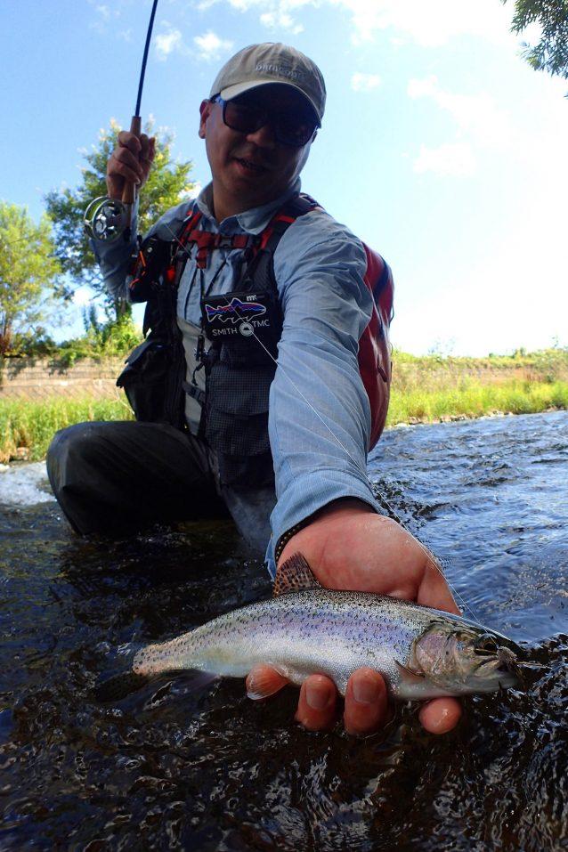 やっと出会えた道東レインボー。 この魚は太っていてよいコンディション 写真:佐々木 大