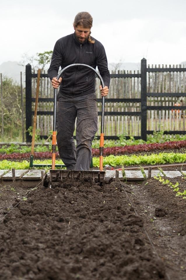 農夫のひとり、フランシスコ・ヴィオが、パタゴニア公園のバイオインテンシブ菜園で「ラポタ」を移植するための苗床を準備中。Photo: James Q Martin