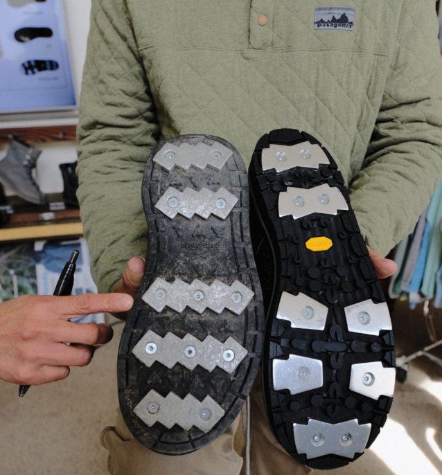 以前のアルミニウムバーとの比較。指球部分のバーが分割されることで「足裏で掴む」感覚でグリップが増した。