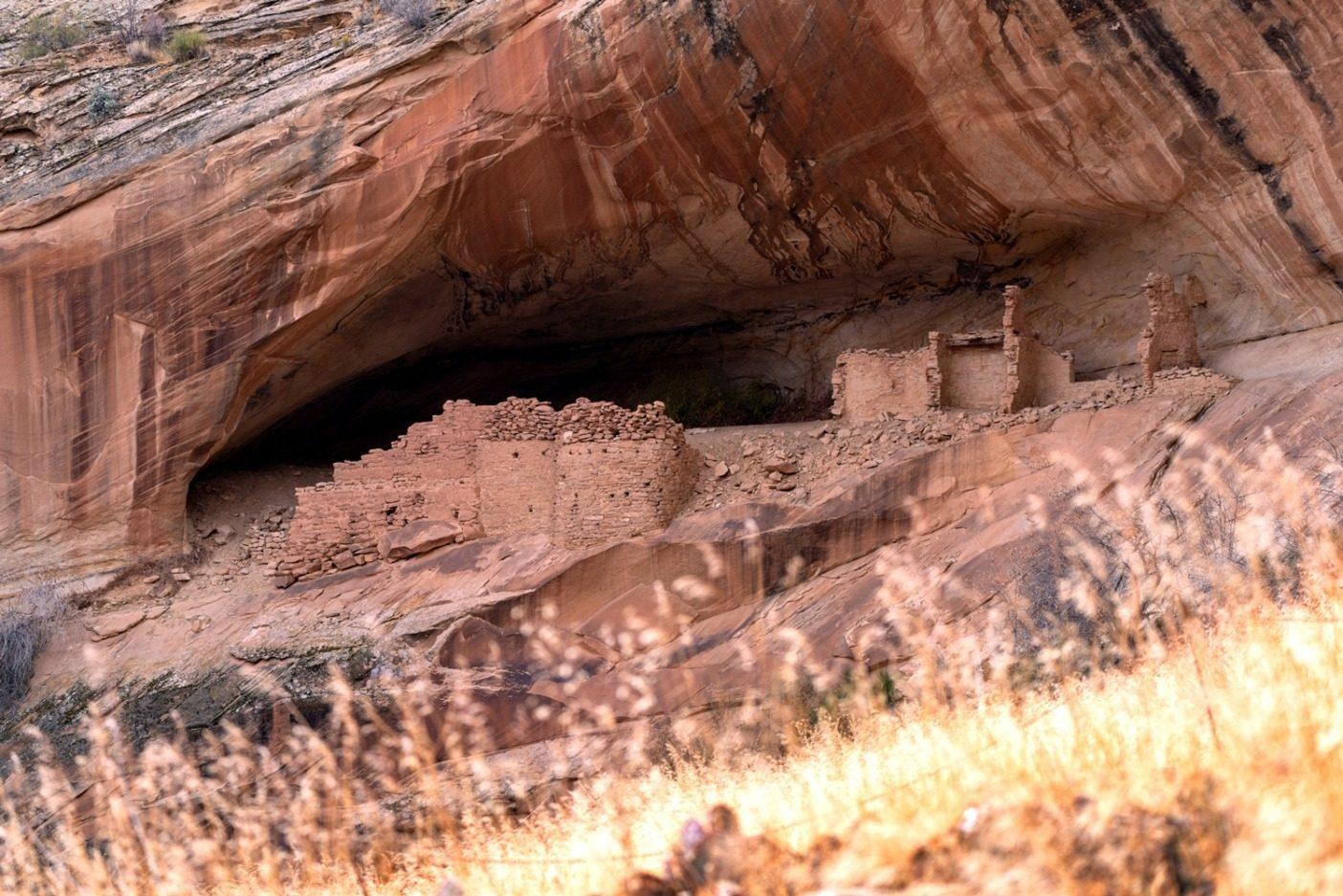 ベアーズ・イヤーズの古代の居住地。これらの家は冬の太陽からの恩恵を最大に得られるよう、典型的に南面に建てられた。Photo: Michael Estrada