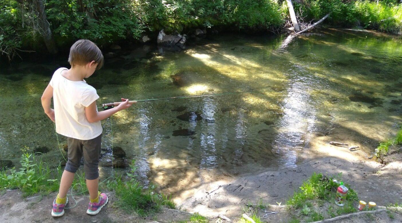 オレゴン州ワラウア山脈で、未来の野生魚保護活動家ノミが道路わきの水辺を調査している。写真:ジョン・ラリソン