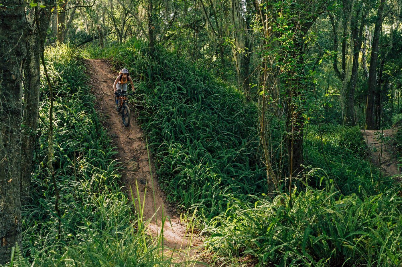 バーム・ボイエットを象徴するトレイル「リッジライン」に多数存在する、急勾配の坂のひとつを攻めるアナリース。〈スワンプ〉の創設者ウェス・ユーバンクが15年以上前に造ったこのトレイルは、自然のままのジャングルを約3キロメートルにわたってくねくねと抜け、ほんの数百メートル先に芝生農園が存在することを忘れてしまうほど野生的。Photo : Nathalie DuPré