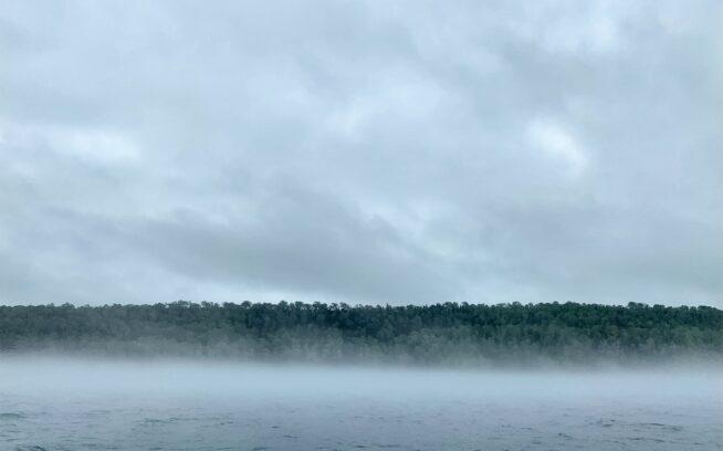 スペリオル湖アイル・ロイヤル島モスキーベイシンを嵐が包む。Photo: Monica Prelle  When: May  Where: Moskey Basin, Isle Royale National Park, Lake Superior, Michigan  Details: clouds, fog, lakem forest, storm, landscape  *iPhone photos, not sized to spec*